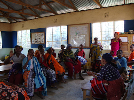 One of the womens groups in session
